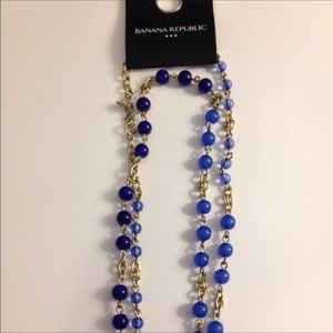 Banana Republic gold and blue necklace